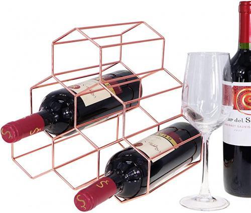 rose gold tabletop honeycomb wine rack 6 bottle wine holder for wine storage no assembly required modern black metal wine rack wine racks