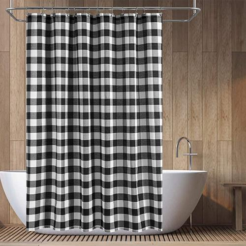 w72xh78 black white barossa design long buffalo cheque shower curtain cotton blend plaid woven texture machine washable water repellent