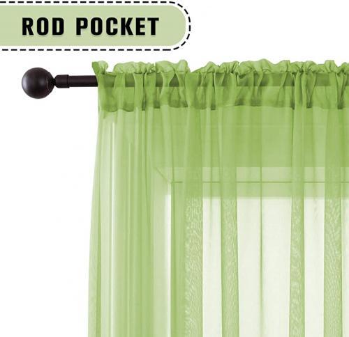 130cm x 270cm sage keqiaosuocai sage green sheer curtains 270cm long bedroom sheer voile rod pocket drapes panels for living room kids baby room