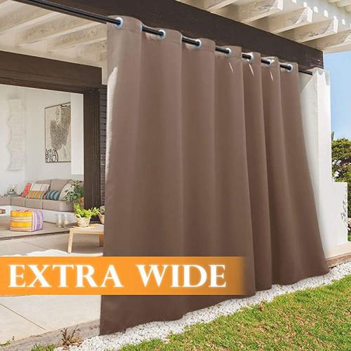250cm x 270cm mocha ryb home outdoor gazebo curtains waterproof weather resistant free standing outside inside drapes for patio sliding glass
