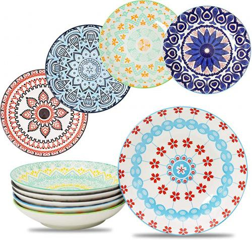 farielyn x large salad pasta bowls set of 6 wide and shallow porcelain dinner bowl dishes 798ml assorted patterns serving plates and bowls for