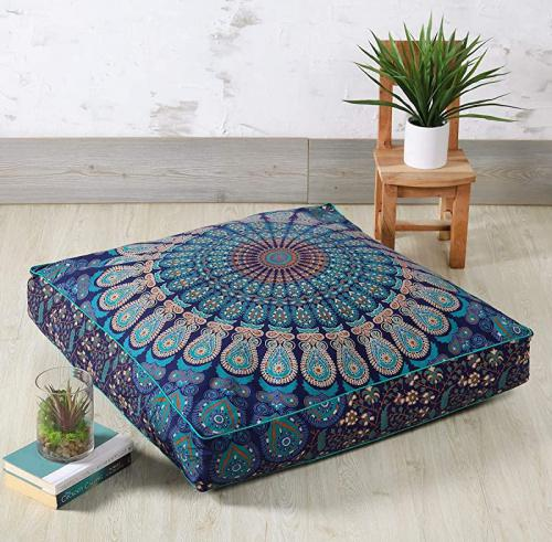 90cm x 90cm pillow cover blue green madhu international mandala floor pillow made of 100 cotton decorative tapestry cushion cover outdoor