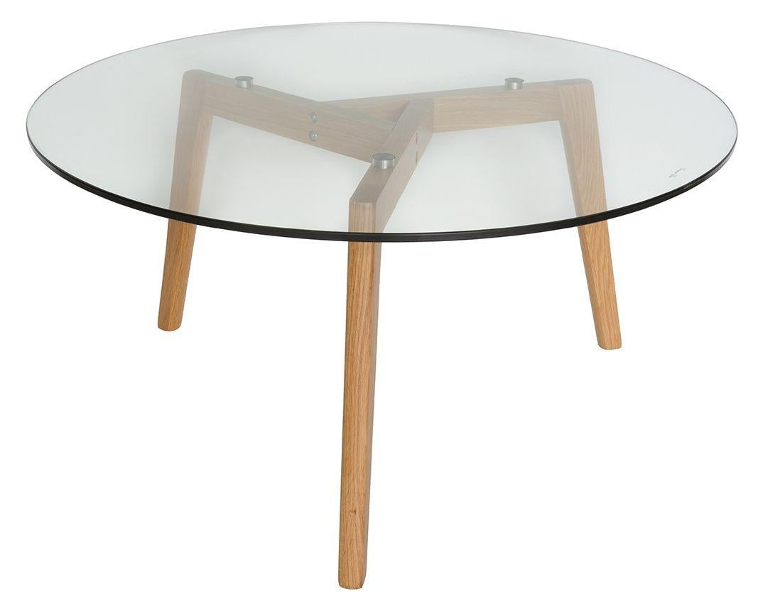 stad round glass coffee table natural