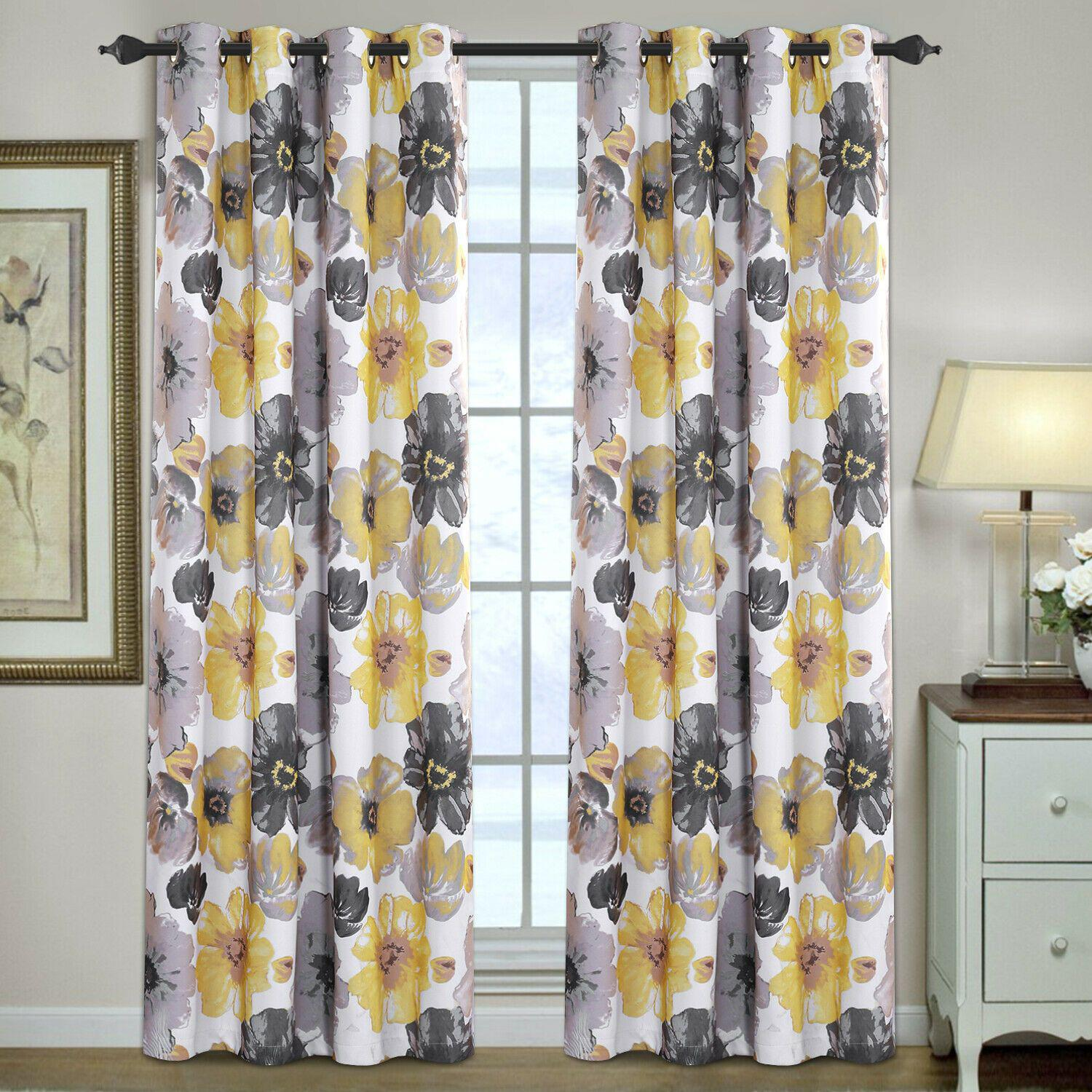 blockout curtains pair bedroom living room vintage floral eyelet curtains yellow grey floral w132cm x d160cm