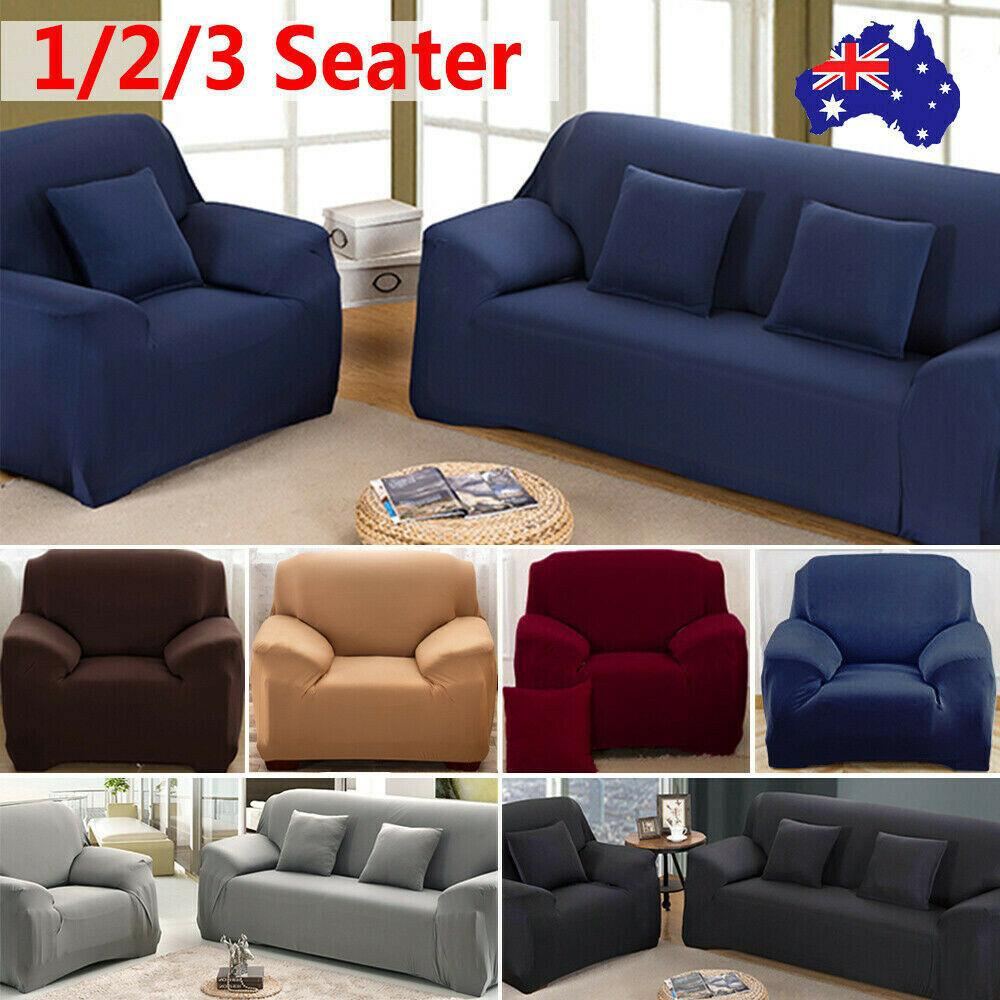 stretch sofa cover couch lounge recliner chair slipcover protector navy blue 3 seater 195 230cm sofa dining chair covers