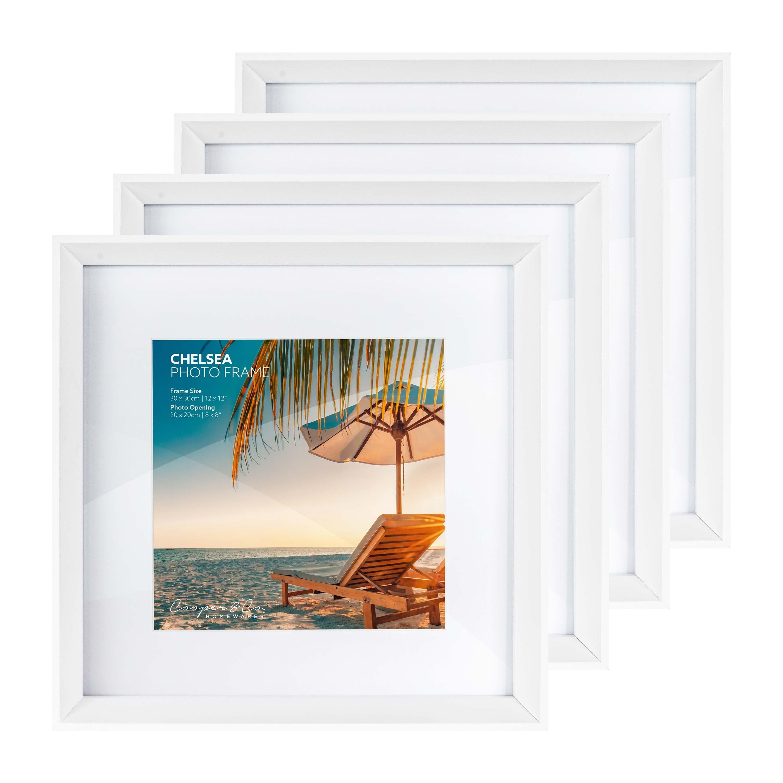 cooper co set of 4 30x30 cm mat to 20x20 cm chelsea wooden photo frames white photo frames