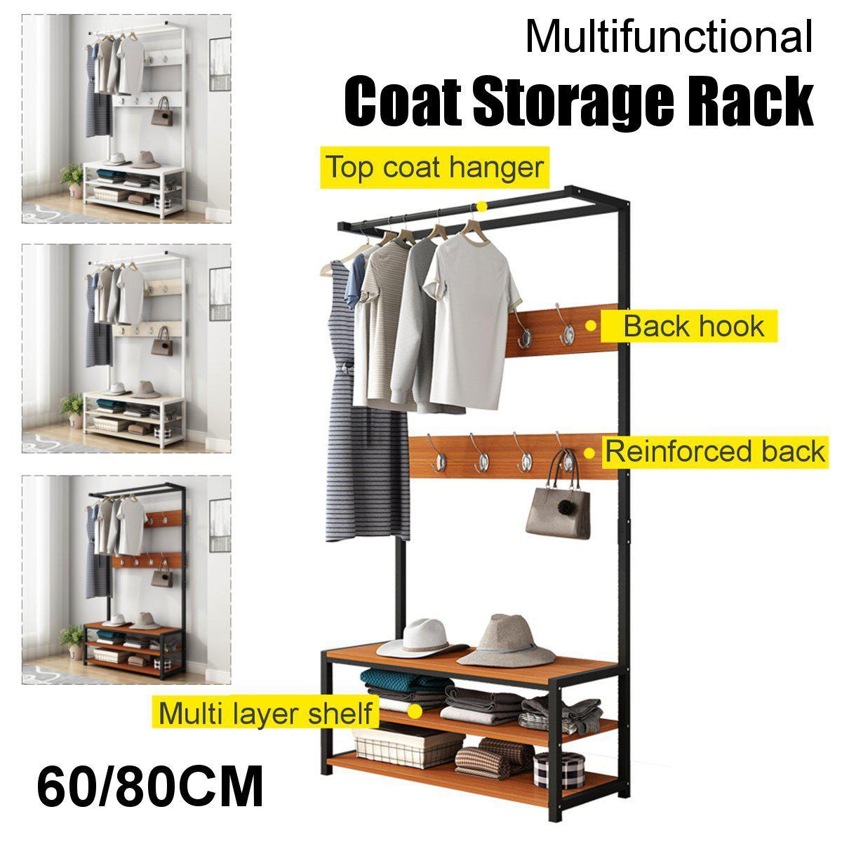 170cm Standing Coat Hat Rack Shelf Clothes Shoe Bench Bag Hanger Storage Holder Black 80x34x170cm Matt Blatt
