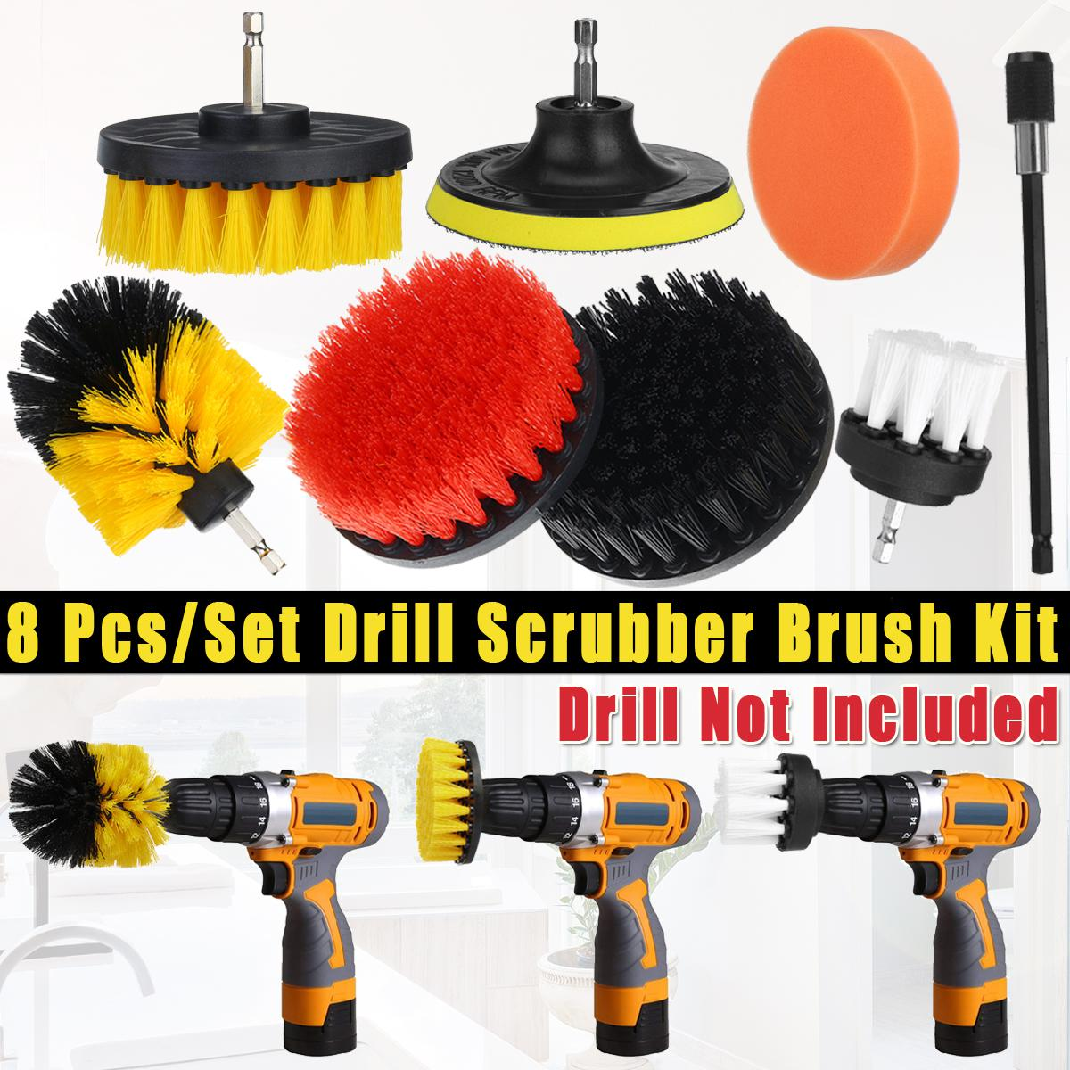 8pcs set power scrubber drill brush kit all purpose cleaner scrubbing cordless drill for cleaning kitchen bathroom pool tile 8pcs