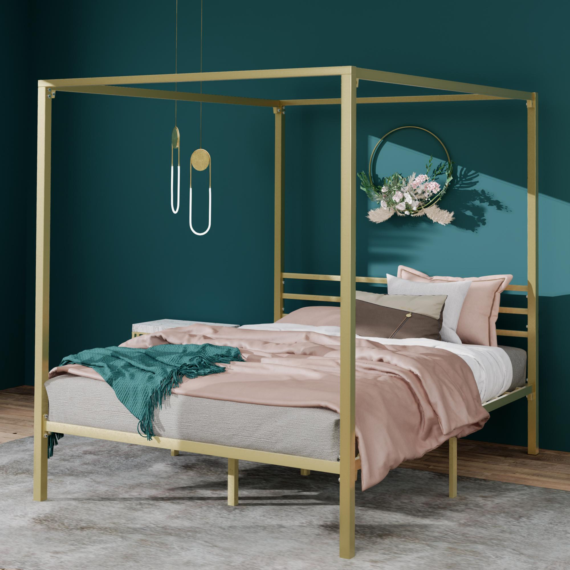 zinus patricia metal canopy steel four poster bed frame double queen