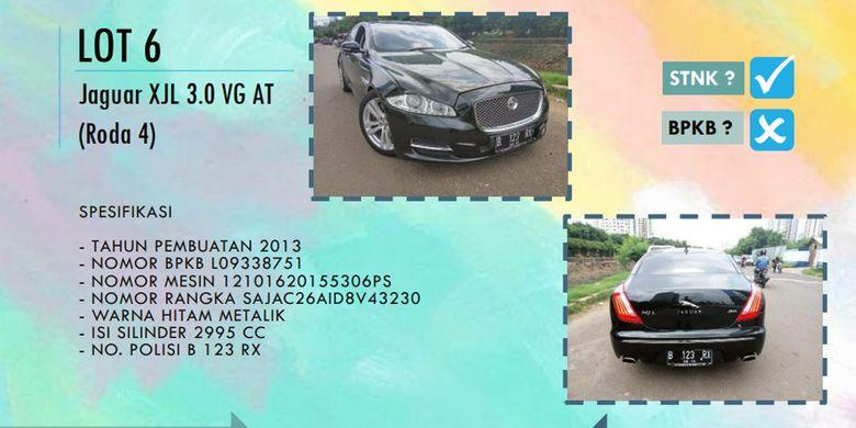Mobil mewah Jaguar XJL 2013 yang dilelang KPK, Jumat (22/9/2017), tidak diminati masyarakat.