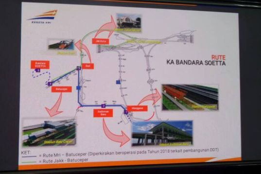 Tampak rute final untuk kereta Bandara Soekarno-Hatta yang dikeluarkan oleh PT KAI Daop 1 pada Selasa (23/5/2017). Kereta bandara ditargetkan beroperasi pada tengah tahun 2017