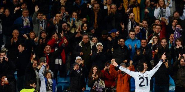 Reaksi Jose Callejon usai mencetak gol pertama ke gawang Ajax Amsterdam dalam matchday keenam Grup D Liga Champions, di Santiago Bernabeu, Selasa atau Rabu (5/12/2012) dini hari WIB. Madrid menang 4-1 dalam laga tersebut.