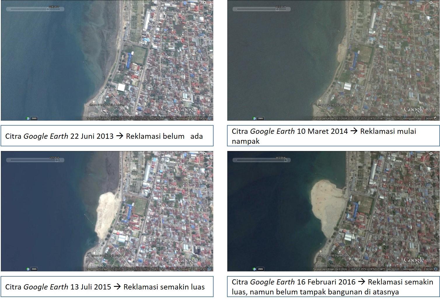 Rangkaian citra progres reklamasi di Teluk Palu, Kota Palu, Provinsi Sulawesi Tengah. Sumber: Google Earth