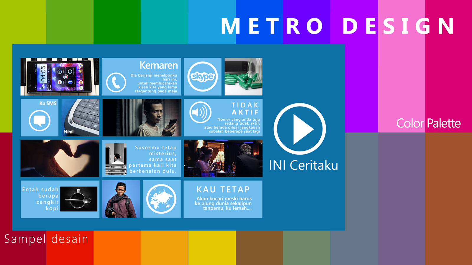 Sampel metro design, dan color palette-nya
