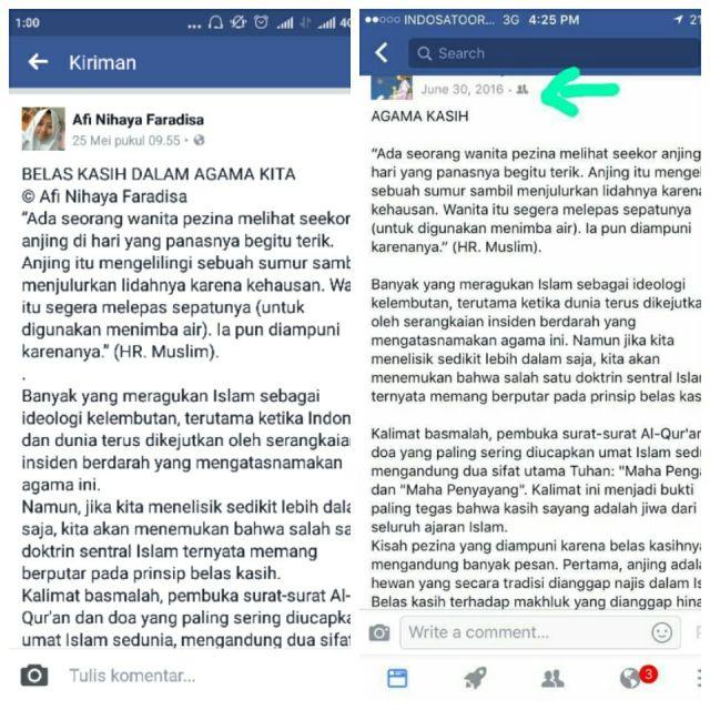 tangkapan layar facebook Afi dan Agama Kasih