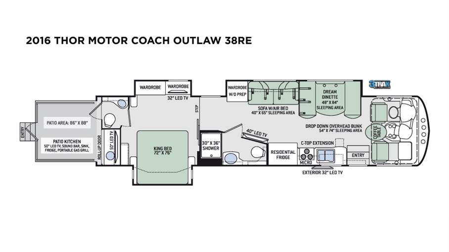 2016 Thor Motor Coach Outlaw 38RE For Sale In Tampa, FL