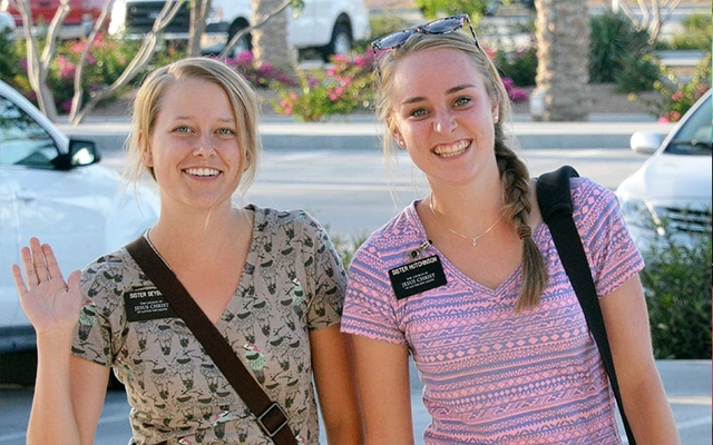 Two sister missionaries teach about the blessings of the word of wisdom
