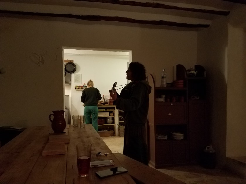Jo serenading while Kirsten prepares dinner