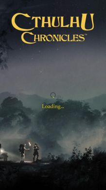 Screenshot for loading screen of Cthulhu Chronicles, shows people searching in a misty forest