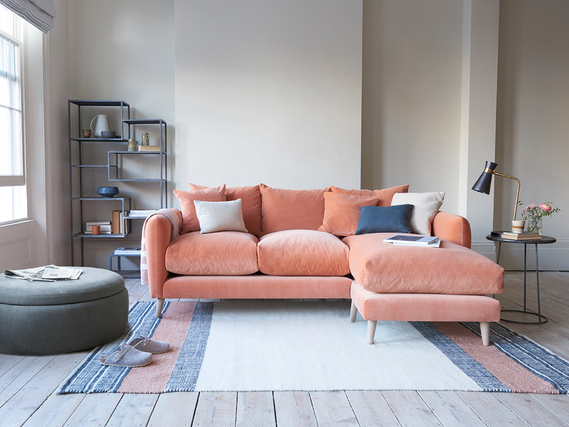 large left hand squishmeister chaise sofa in thatch house fabric