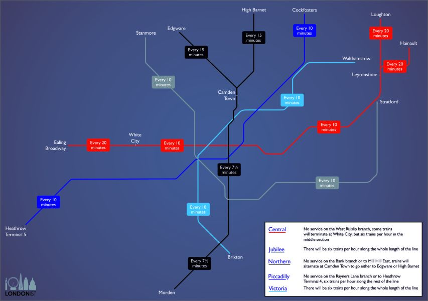 A Map Of Night Tube Train Frequencies   Londonist A Map Of Night Tube Train Frequencies