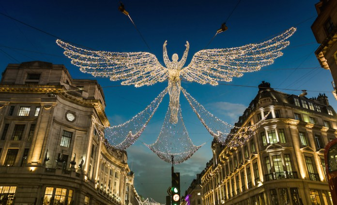 The Regent Street Christmas lights angels at dusk