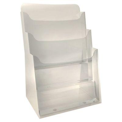 presentoir de bureau 3 cases a4 exacompta vertical polystyrene cristal monobloc