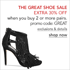 The Great Shoe Sale, Extra 30 percent off, when you buy 2 or more pairs, promo code: GREAT exclusions and details, shop now
