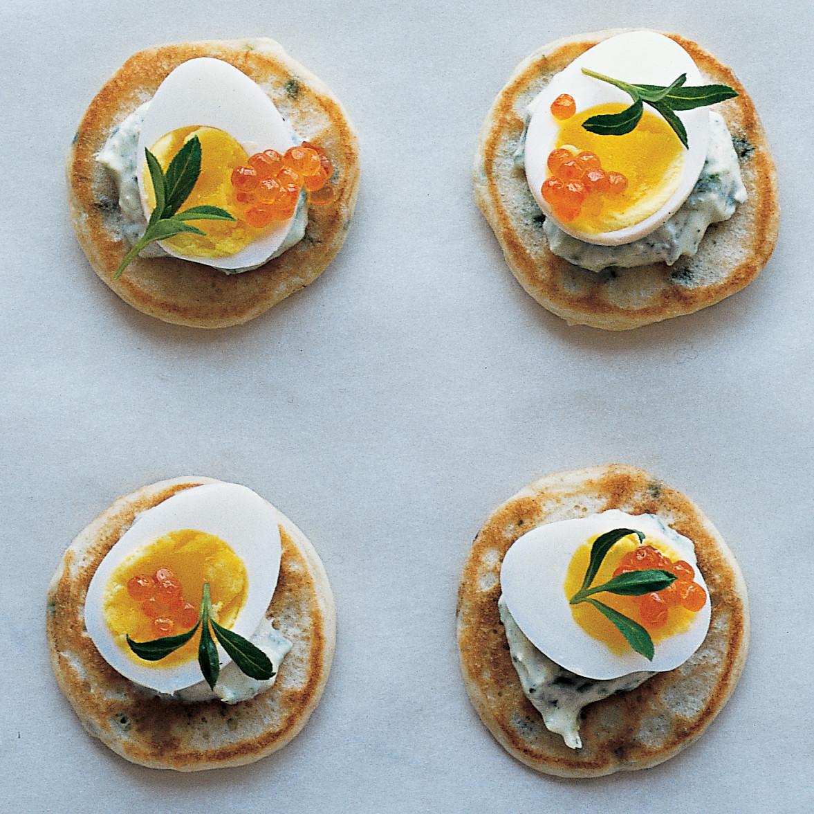 Chive Blini With Creme Fraiche Quail Eggs And Tarragon