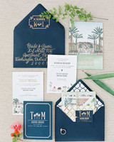 Ilrated Spring Invitation Suite With Navy Envelopes And Calligraphy