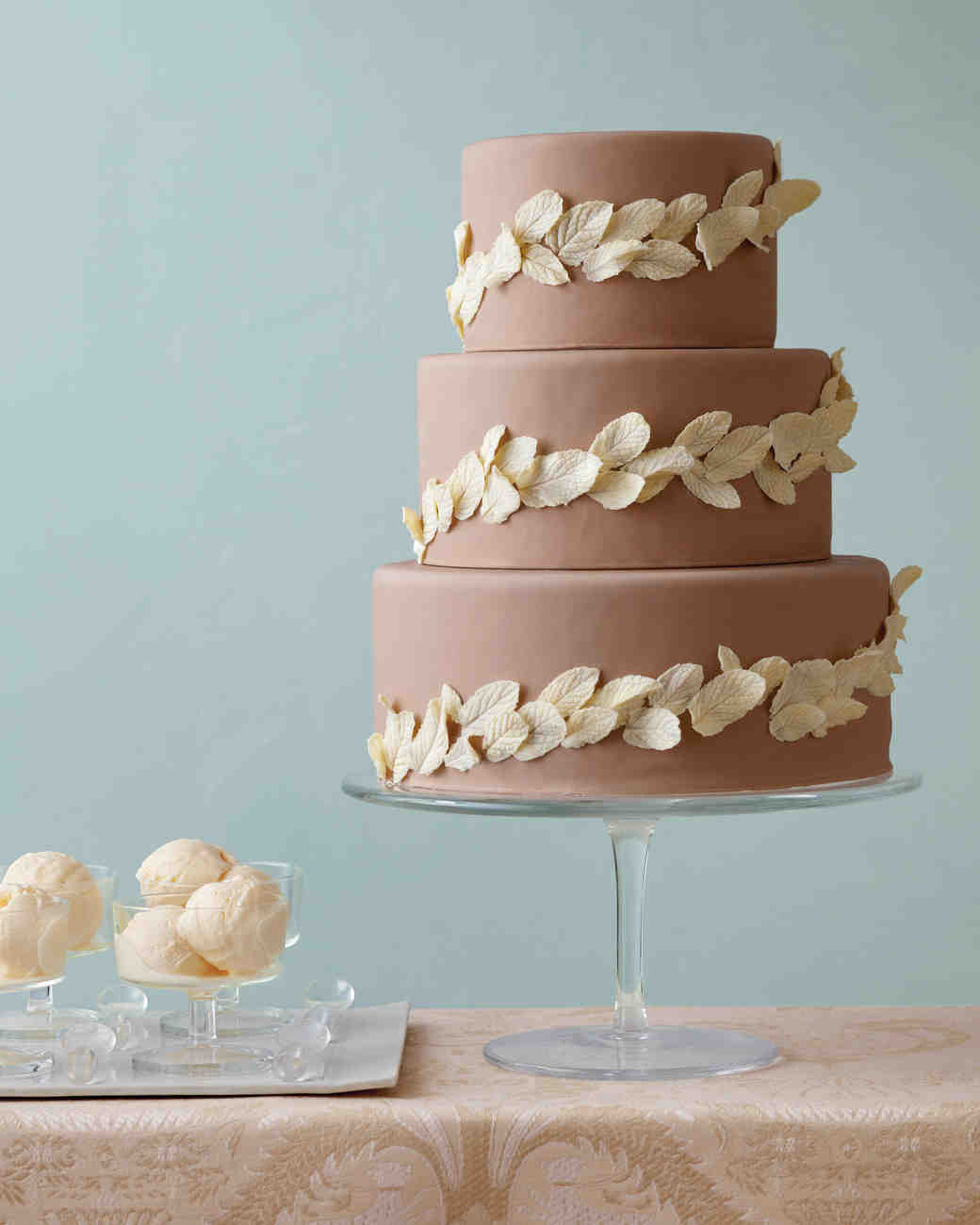 11 DIY Wedding Cake Ideas That Will Transform Your Tiers   Martha     Chocolate Leaf Wedding Cake