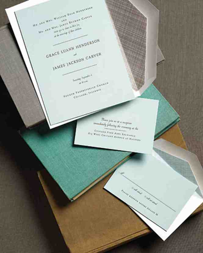 Navy Teal Brown Modern Poster Style Wedding Invitations