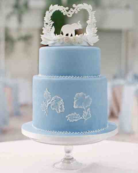 Blue and Purple Wedding Cakes   Martha Stewart Weddings Pale Blue Wedding Cake