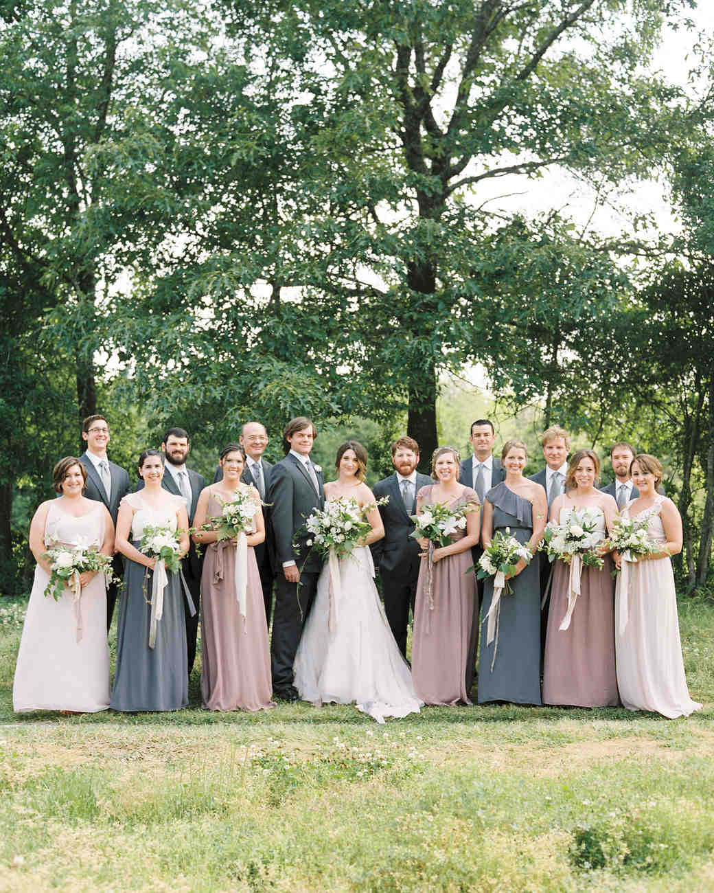 Pink And Gray Mismatched Bridesmaids