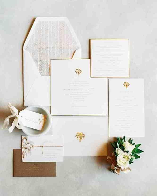 Letterpress Pearl White Emby Wedding Invitation