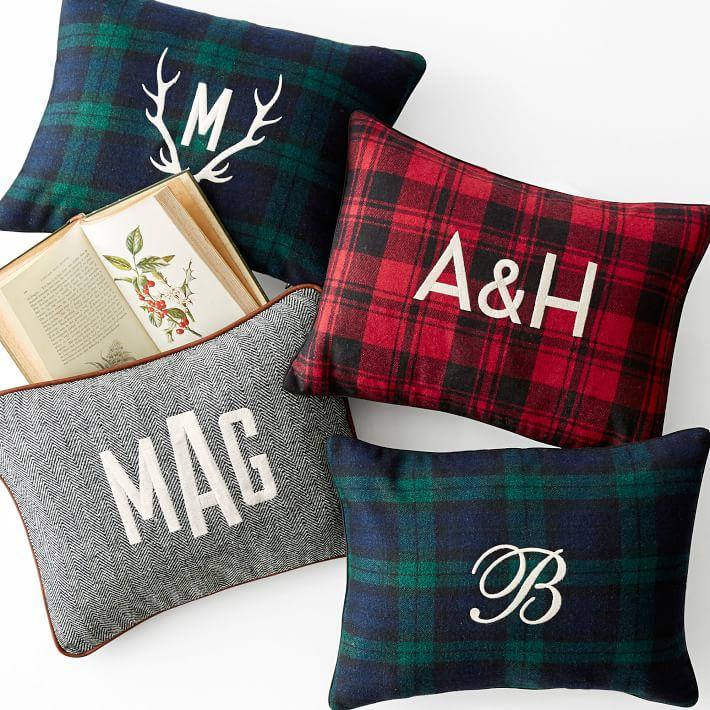 herringbone monogrammed pillow cover