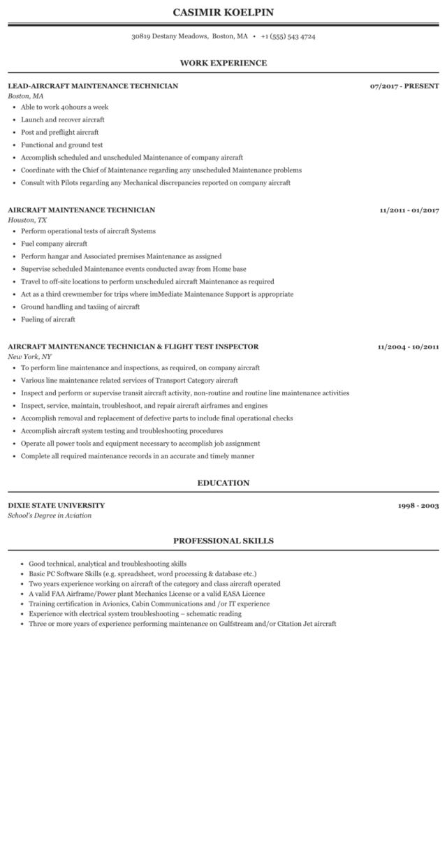 Aircraft Maintenance Technician Resume Sample  MintResume