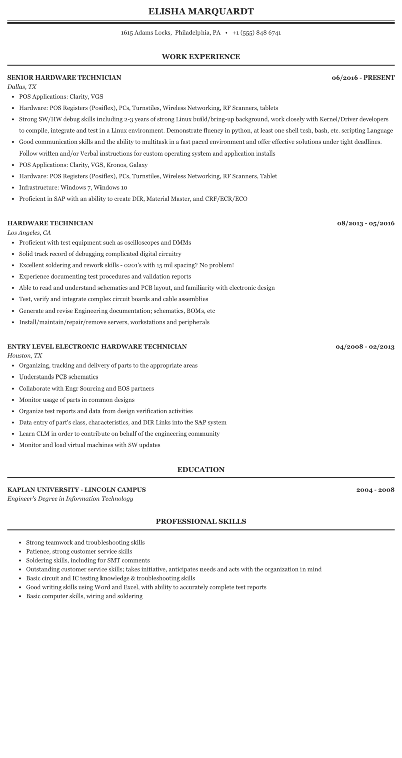 Their resumes reflect such skills as performing upgrades, patches, and new software and hardware installations; Hardware Technician Resume Sample Mintresume