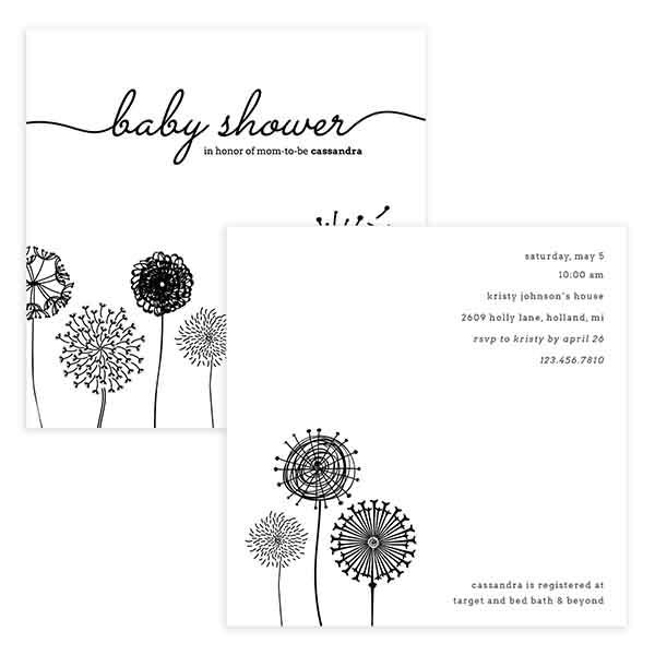 Dandelion Baby Shower Invitation Template