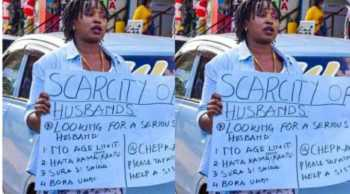Scarcity Alert: Eldoret woman looking for a husband goes to the streets with a placard