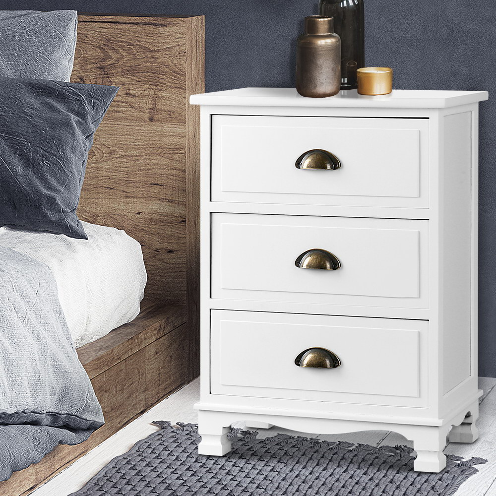 vintage bedside table drawers side table storage cabinet nightstand white