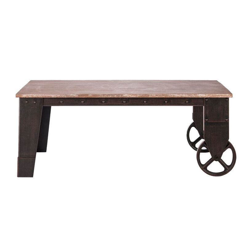 industrial wrought iron wood coffee table w wheels