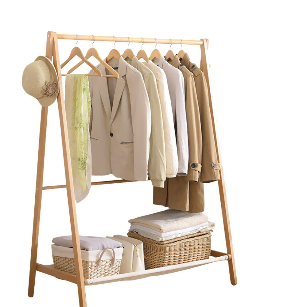 levede clothes rack folding storage garment hanger wooden organiser closet stand