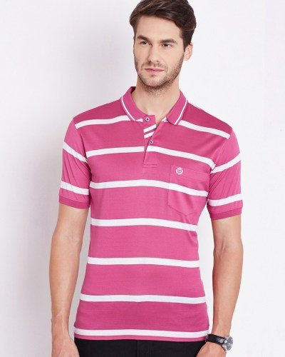 Duke Pink & White Striped Polo T-shirt