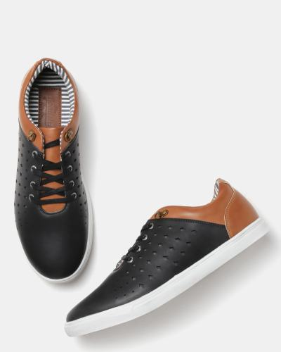 Roadster Men Black & Brown Colourblocked Sneakers with Laser Cuts