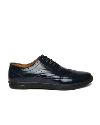 Carlton London Men Navy Patent Leather Brogues