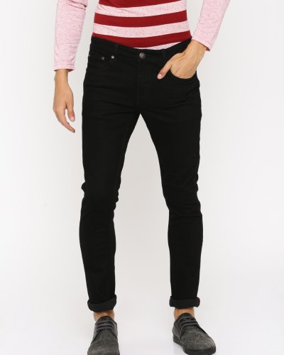 American Crew Men Black Straight Fit Mid-Rise Jeans