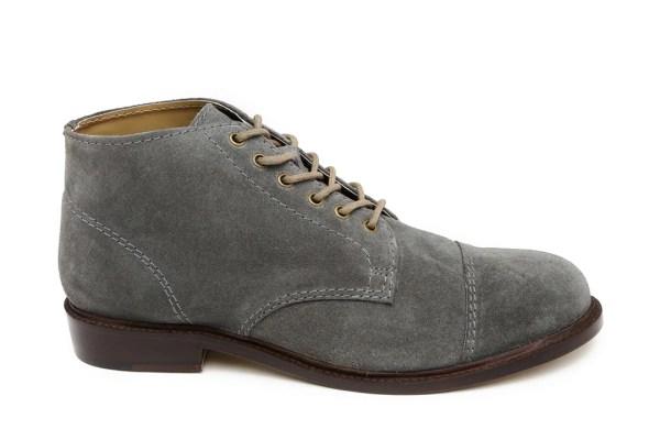 Carlton London Men Grey Solid Mid-Top Suede Leather Derbys