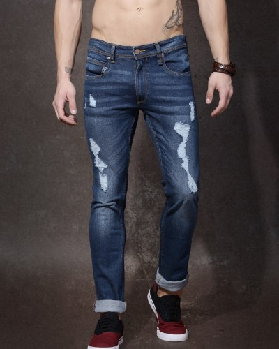 Roadster Men Blue Mid-Rise Highly Distressed Jeans