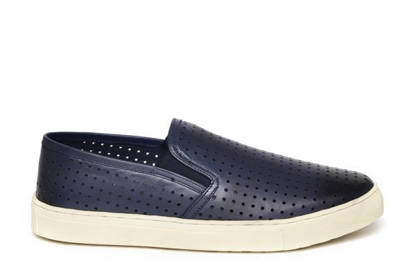 Carlton London Men Navy Perforated Leather Slip-On Sneakers